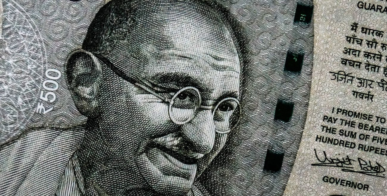 Mahatma Gandhi auf einer 500 Rupien Banknote